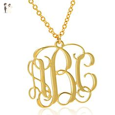 Monogram necklace 0.5 inch Personalized Monogrammed pendant 14K Gold Filled or 925 Sterling Silver jewelry - Wedding nacklaces (*Amazon Partner-Link)