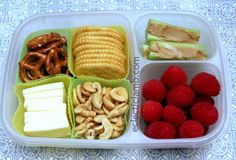 I made this lunch for my husband. I decided to make a snack themed lunch to give him something different. He enjoyed it so I am now planning another one. Container: EasyLunchBoxes Left Side: Pretze…