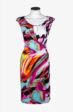 Draped print dress