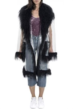Transparent Vinyl and Mongolian Lamb Fur Oversize Coat by Wanda Nylon - Shop it here : Precouture.com