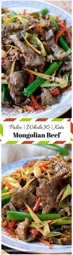 Paleo Mongolian Beef (AKA) Beef with Scallion and Ginger Stir-Fry ! Love Chinese food ? Then you certainty dont want to miss this Paleo/Whole30/Keto Mongolian Beef! Its too good to pass on. Get the recipe by following the link below.