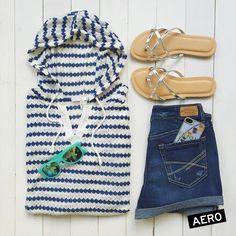 Look casual Aéropostale para chicas #Stripes #sandals #short #denim #sunglasses