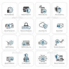 Flat Design Protection And Security Icons Set. — JPG Image #network #computer • Available here → https://graphicriver.net/item/flat-design-protection-and-security-icons-set/14911840?ref=pxcr