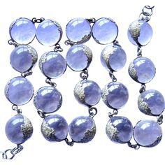#VintageBeginsHere at www.rubylane.com @rubylanecom --Deco Rock Crystal Pools of Light Sterling Floral Band Necklace