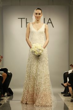 "#THEIA - Emma - 890061 Embroidered Petal Fit and Flare V-Neck Gown  #weddings #bridal #dress Seen in the new film ""the big wedding"""