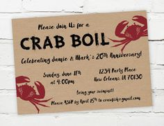Printable Digital Crab Boil Invitation  #crabboil #seafood #lowcountry #crabs
