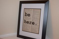 Be Here Dictionary Print by ChristinaMarieCrafts on Etsy