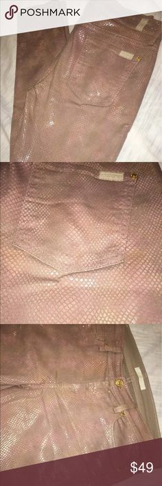 7 for all mankind pants Super cute pink snakeskin print pants. Inseam 29 inches Waist 31 See picture near zipper print has worn off some. 7 For All Mankind Pants Skinny