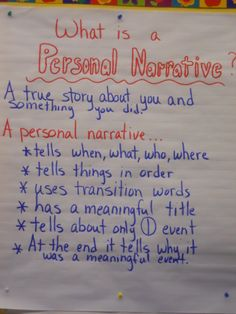 Personal Narrative anchor chart - 2nd grade