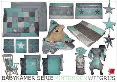 Babykamer aankleding in grijs, wit en mint groen voor P.   in opdracht gemaakt   Sies Factory