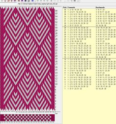 32 cards, 2 colors, repeats every 14 rows ༺❁ Inkle Weaving Patterns, Weaving Designs, Weaving Projects, Loom Patterns, Print Patterns, Card Weaving, Weaving Art, Loom Weaving, Hawaiian Crafts