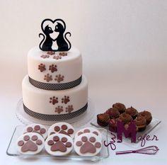 set-torta-cats-in-love tortas decoradas Cupcakes, Cupcake Cakes, Puppy Party, Cat Party, Cake Pops, Graduation Desserts, Animal Cakes, Love Cake, Pretty Cakes