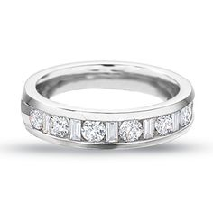 1 CT. T.W. Round and Baguette Diamond Channel Band in 14K White Gold - Zales