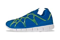 The roll out of the Nike Kukini Free finds original inspiration paired with a Free outsole. Available this season in a royal blue and black colorway, accent pieces in neon green and grey fit nicely with the universally white bottoms.