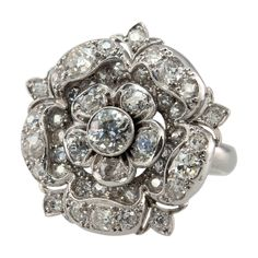 2 Carat Diamond Tudor Rose Ring | From a unique collection of vintage cocktail rings at http://www.1stdibs.com/jewelry/rings/cocktail-rings/