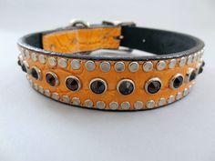 All Swarovski Tangerine Crocko Leather Collars Unique Dog Collars, Pet Collars, Leather Collar, Swarovski, Belt, Bracelets, Handmade, Shopping, Jewelry
