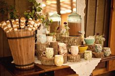 Do we have any birch wood stumps at home to mimic the cake at the Hot chocolate bar?  Hot chocolate bar with the smores! Perfect! You could combine the two!!