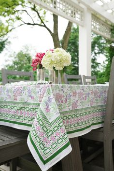 Bring a little flair to your tablescape with our Palms & Pagodas Tablecloth. Depicting an Eastern Asian chinoiserie design of pagodas surrounded by lush landscape of palms and florals, this colorful and vibrant print is perfect for all your Spring and Summer soirees. Hand Towel Sets, Hand Towels, Napkins Set, Ceramic Mugs, Mugs Set, Plate Sets, Table Linens, Chinoiserie, Palms