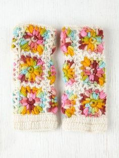 Free People crocheted arm warmers