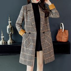 Long Women& Jacket Casual Blazer 2020 new autumn and winter fashion temperament woolen ladies suit Elegant feminine coat Long Jackets For Women, Blazers For Women, Suits For Women, Clothes For Women, Women Blazer, Long Winter Coats, Long Wool Coat, Long Coats, Vintage Coat