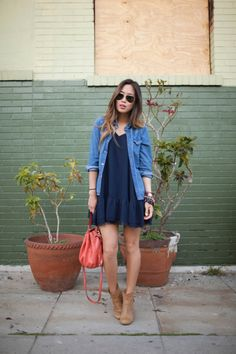Denim, Dress, Ankle Boots