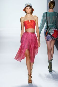 Red and Pink The Spring's trendy Bra top with Pleated front Slit Short Skirt in a beach Party Look.    Timo Weiland Spring-Summer 2012.