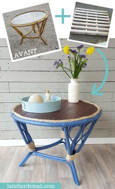 Relooking d'une vieille table en rotin étape par étape avec de la corde et une palette