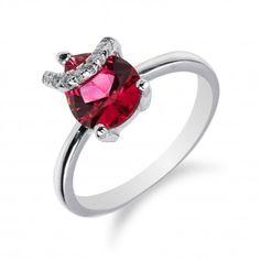 Elegantní stříbrný prsten s rubínem a zirkony