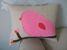 Im Going to try and DIMy this cute bird pillow. Cotton Candy Pink Bird Pillow on Oatmeal/Natural by dedeetsyshop, $19.00