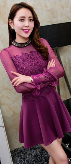 Mini Chiffon Spring Dress with Lace Embroidery YRB0701
