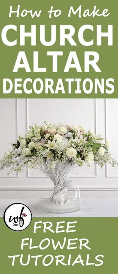 Wedding Flower Ideas - Flower Tutorials for Church and Reception Wedding Altar Decorations, Wedding Altars, Flower Decorations, Church Decorations, Church Wedding Flowers, Altar Flowers, Pew Markers, Corsages, Boutonnieres