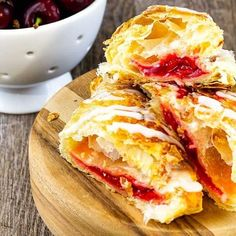 Cherry Turnover Sweet Puff Pastry Recipes, Cherry Turnovers, Pepperidge Farm Puff Pastry, Canning Cherry Pie Filling, Turnover Recipes, Canned Cherries, Cherry Desserts, Puff Pastry Sheets, Phyllo Dough