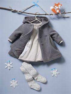 Vertbaudet Festliches Strickkleid für Baby Mädchen in elfenbein