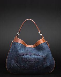 Prada Denim & Leather Hobo Bag