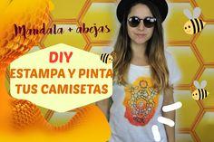 Como estampar y pintar camisetas DIY - mandala y abejas - How to stamp a...