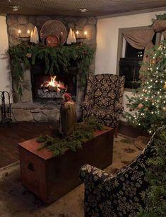 Primitive Christmas Decorating, Primitive Country Christmas, Country Christmas Decorations, Prim Christmas, Christmas Mantels, Christmas Scenes, Simple Christmas, Beautiful Christmas, Holiday Decor