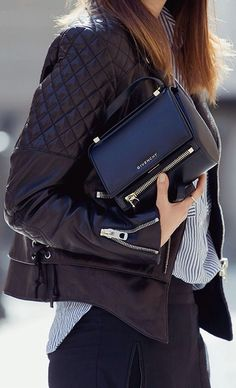 Leather jacket, Givenchy purse, a striped blouse, and black pants. So chic. Mode Style, Style Me, Fashion Mode, Womens Fashion, Style Fashion, Fashion Outfits, Givenchy Handbags, Style Personnel, Minimal Outfit