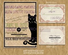 Art Nouveau Black Cat Wedding Invitation