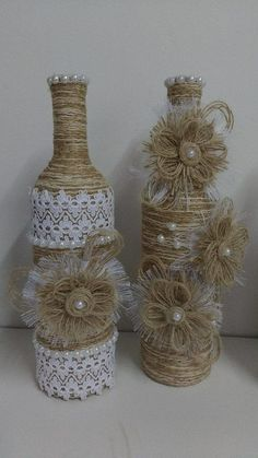 Delicate glass bottles decorated with string and lace Glass Bottle Crafts, Wine Bottle Art, Diy Bottle, Glass Bottles, Twine Bottles, Wrapped Wine Bottles, Burlap Crafts, Decor Crafts, Diy And Crafts