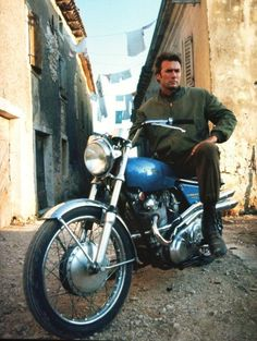 Clint Eastwood on his Norton Commando 750 - 'I could have sworn he used a Sherman and Tiger tank in Kellys Heroes'