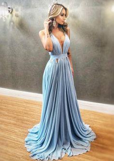 A Line V Neck Blue Chiffon Long Prom Dresses, V Neck Blue Formal Evening Dresses, Blue Bridesmaid Dresses Fancy Prom Dresses, Blue Evening Dresses, V Neck Prom Dresses, Grad Dresses, Formal Dresses, Sexy Dresses, Party Dresses, Dress Party, Long Dresses