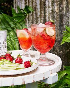 Strawberry-cucumber cocktails are served in early-American pattern glass. #marthastewart #decorideas #diydecor