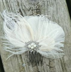 Check out this item in my Etsy shop https://www.etsy.com/listing/113779226/ivory-bridal-comb-feather-hair-comb