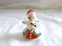 VINTAGE-NAPCO-CHRISTMAS-SANTA-ANGEL-GIRL-FIGURINE-MINIATURE-2-SPAGHETTI-50S