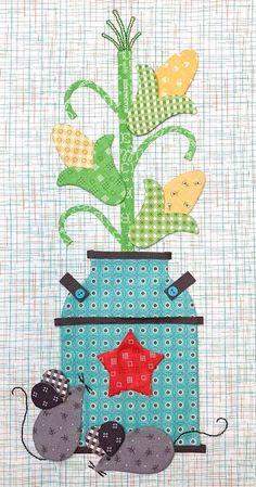 Autumn Love - Week Seven - Milk Can Block! Colorful Quilts, Small Quilts, Mini Quilts, Farm Animal Quilt, Farm Quilt, Tractor Quilt, Applique Quilt Patterns, Hand Applique, Applique Ideas