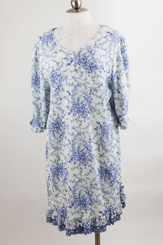 Karen Neuburger Nightgown White Blue Flowered XLarge | eBay