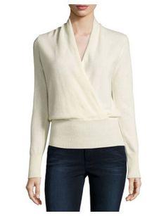 cashmere-faux-wrap-sweater by sofia-cashmere. #newtrend #fashionabledress #women'sfashion #outfit #shoptagr