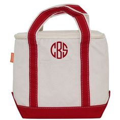 Personalized Red Insulated Lunch Tote