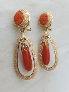 Fine pair of Victorian natural Coral cameo 18ct gold drop earrings