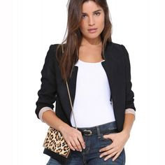 Slim Stand Collar Fashion Pure Color Short Blazer Coat